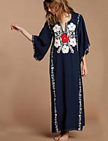 cheap -Women's Shift Dress Maxi long Dress - Long Sleeve Solid Color Summer Elegant 2020 Navy Blue One-Size