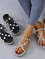cheap -Women's Sandals Wedge Sandals Platform Sandal Summer Platform Open Toe Daily PU Black / Beige
