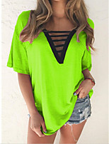 cheap -Women's Plus Size Solid Colored T-shirt Daily Going out V Neck Wine / Blue / Purple / Yellow / Orange / Green
