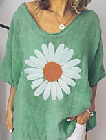 cheap -Women's Floral Loose Blouse - Cotton Daily Blue / Green