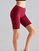 cheap -Women's High Waist Yoga Shorts Pocket Black Dark Red Dark Blue Elastane Running Fitness Gym Workout Shorts Sport Activewear Breathable Tummy Control Butt Lift Moisture Wicking High Elasticity
