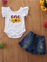 cheap -Baby Girls' Basic Print Short Sleeve Regular Regular Clothing Set White