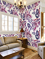 cheap -Art Deco Custom Self-Adhesive Mural Wallpaper Purple Leaf Flowers Suitable For Bedroom Living Room Wall Decoration Art Home Decoration Modern Wall Covering