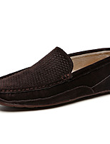 cheap -Men's Fall Daily Outdoor Loafers & Slip-Ons Walking Shoes PU Breathable Wear Proof Black / Yellow / Brown