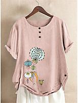 cheap -Women's Blouse Shirt Floral Pattern Flower Button Print Round Neck Tops Loose Cotton Basic Basic Top Blushing Pink Green