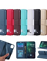 cheap -Case For Apple iPhone SE 2020 / iPhone 11 Pro / iPhone 11 Pro Max Wallet / Card Holder / with Stand Full Body Cases Cat / Solid Colored PU Leather For iPhone XR/XS Max/X/7/8 Plus/6/6s Plus