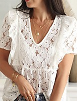 cheap -Women's Solid Colored Cut Out Mesh Lace Trims T-shirt Daily V Neck White