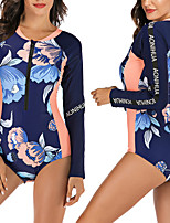 cheap -Women's One Piece Swimsuit Floral / Botanical Padded Swimwear Swimwear Dark Navy Breathable Quick Dry Comfortable Long Sleeve - Swimming Surfing Water Sports Autumn / Fall Spring / Elastane