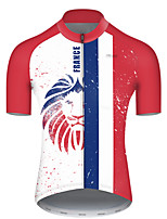 cheap -21Grams Men's Short Sleeve Cycling Jersey Polyester Red / White Lion France National Flag Bike Jersey Top Mountain Bike MTB Road Bike Cycling Breathable Quick Dry Ultraviolet Resistant Sports
