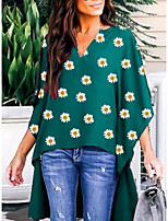 cheap -Women's Floral Daisy T-shirt Daily V Neck Black / Green
