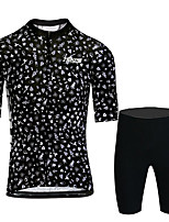 cheap -21Grams Men's Short Sleeve Cycling Jersey with Shorts Black / White Bike UV Resistant Quick Dry Sports Patterned Mountain Bike MTB Road Bike Cycling Clothing Apparel / Stretchy