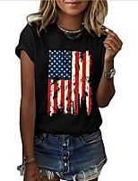 cheap -Women's Plus Size Geometric American flag T-shirt - Cotton Daily Weekend Wine / Black / Dusty Blue