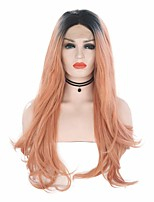 cheap -Synthetic Lace Front Wig Wavy Middle Part Lace Front Wig Pink Ombre Long Pink Synthetic Hair 18-26 inch Women's Cosplay Soft Party Pink Ombre