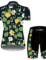 cheap -21Grams Women's Short Sleeve Cycling Jersey with Shorts Green / Black Floral Botanical Bike Breathable Quick Dry Sports Patterned Mountain Bike MTB Road Bike Cycling Clothing Apparel / Micro-elastic