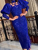 cheap -Sheath / Column Elegant Glittering Party Wear Prom Dress High Neck Long Sleeve Ankle Length Sequined with Sequin 2020