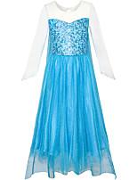 cheap -Princess Elsa Dress Flower Girl Dress Girls' Movie Cosplay A-Line Slip Blue Dress Children's Day Masquerade Tulle Cotton