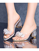 cheap -Women's Sandals Summer Sculptural Heel Open Toe Daily PU Silver / Clear / Transparent / PVC