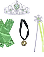 cheap -Princess Crown Outfits Masquerade Girls' Movie Cosplay Cosplay Halloween Green Gloves Crown Necklace Halloween Carnival Masquerade Plastic / Wand
