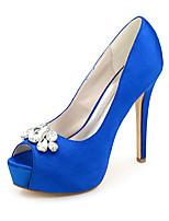 cheap -Women's Wedding Shoes Spring / Summer Stiletto Heel Peep Toe Minimalism Wedding Party & Evening Rhinestone Solid Colored Satin White / Black / Purple