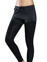 cheap -Women's Yoga Pants 2 in 1 Black Elastane Running Fitness Gym Workout Bottoms Sport Activewear Breathable Moisture Wicking Soft Stretchy
