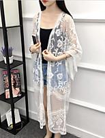 Недорогие -Жен. Повседневные Длинная Пальто, Однотонный V-образный вырез Длинный рукав Полиэстер Белый