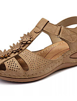 cheap -Women's Sandals Wedge Sandals Flat Sandal Summer Flat Heel Open Toe Daily PU Black / Purple / Yellow