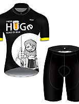 cheap -21Grams Men's Short Sleeve Cycling Jersey with Shorts Polyester Black / White Patchwork Oktoberfest Beer Bike Clothing Suit Breathable Quick Dry Ultraviolet Resistant Reflective Strips Sweat-wicking