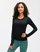 cheap -Women's Yoga Top Thumbhole Patchwork Solid Color White Black Green Mesh Elastane Running Fitness Gym Workout Tee / T-shirt Long Sleeve Sport Activewear Breathable Quick Dry Comfortable Stretchy