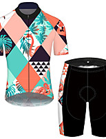 cheap -21Grams Men's Short Sleeve Cycling Jersey with Shorts Blue+Yellow Flamingo Floral Botanical Bike UV Resistant Quick Dry Sports Flamingo Mountain Bike MTB Road Bike Cycling Clothing Apparel / Stretchy