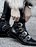 cheap -Women's Boots Winter Chunky Heel Round Toe Daily PU Mid-Calf Boots Black / Gray