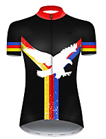 cheap -21Grams Women's Short Sleeve Cycling Jersey Polyester Black / Red Animal Eagle National Flag Bike Jersey Top Mountain Bike MTB Road Bike Cycling Breathable Quick Dry Ultraviolet Resistant Sports