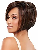 cheap -Synthetic Wig Straight Matte Bob Wig Short sepia Synthetic Hair 14 inch Women's Easy dressing Best Quality Comfortable Brown