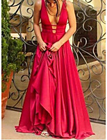 cheap -A-Line Sexy Red Engagement Formal Evening Dress V Neck Sleeveless Sweep / Brush Train Charmeuse with Pleats 2020
