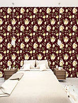 cheap -Custom self-adhesive mural wallpaper red background roses suitable for bedroom living room cafe restaurant hotel wall decoration art  Wall Cloth Room Wallcovering Art Deco
