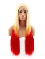 cheap -Synthetic Lace Front Wig Straight Kardashian Middle Part Lace Front Wig Blonde Ombre Long Ombre Blonde Synthetic Hair 22-26 inch Women's Heat Resistant Women Hot Sale Blonde Ombre / Glueless