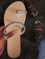 cheap -Women's Slippers & Flip-Flops Summer Flat Heel Open Toe Daily PU Black / Yellow / Fuchsia