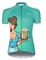 cheap -21Grams Women's Short Sleeve Cycling Jersey Polyester Blue+Green Polka Dot Gradient Oktoberfest Beer Bike Jersey Top Mountain Bike MTB Road Bike Cycling Breathable Quick Dry Ultraviolet Resistant