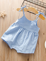 cheap -Baby Girls' Active Basic Solid Colored Backless Lace up Sleeveless Romper Blue