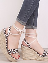 cheap -Women's Sandals Wedge Sandals Summer Wedge Heel Open Toe Daily Animal Patterned PU Yellow / Beige / Animal Print