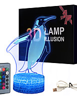 cheap -Penguin White Base Lovely 16 Color Change 3D Lamp Novelty Kids Room Led Lamp Decorations Gift for Baby Room Lights