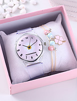 cheap -Women's Quartz Watches Flower New Arrival Grey Rubber Chinese Quartz Black Blue Blushing Pink Chronograph Cute Creative 2 Piece Analog One Year Battery Life