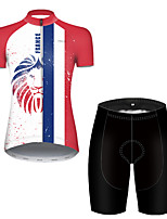 cheap -21Grams Women's Short Sleeve Cycling Jersey with Shorts Polyester Black / Red Lion France National Flag Bike Clothing Suit Breathable Quick Dry Ultraviolet Resistant Reflective Strips Sweat-wicking
