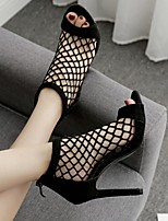 cheap -Women's Sandals Heel Sandals Summer Stiletto Heel Open Toe Daily PU Black