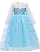 cheap -Princess Elsa Dress Flower Girl Dress Girls' Movie Cosplay A-Line Slip Blue Dress Children's Day Masquerade Tulle Polyester
