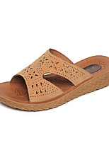 cheap -Women's Sandals Wedge Sandals Summer Wedge Heel Open Toe Daily PU Brown