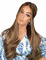 cheap -Synthetic Wig Matte Body Wave Middle Part Wig Very Long Light Brown Synthetic Hair 26 inch Women's Color Gradient Middle Part curling Brown