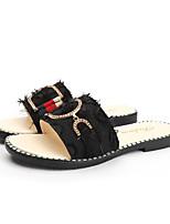 cheap -Women's Sandals / Slippers & Flip-Flops Flat Sandal Summer Flat Heel Open Toe Casual Daily Canvas White / Black / Gray