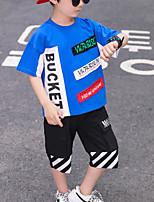 cheap -Kids Boys' Street chic Casual / Daily Outdoor Black & Red Black & White Geometric Color Block Patchwork Print Short Sleeve Regular Regular Clothing Set White