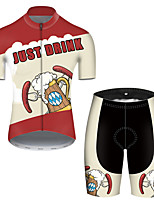 cheap -21Grams Men's Short Sleeve Cycling Jersey with Shorts Polyester Black / Red Patchwork Oktoberfest Beer Bike Clothing Suit Breathable Quick Dry Ultraviolet Resistant Reflective Strips Sweat-wicking