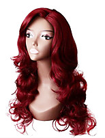 cheap -Synthetic Wig Body Wave Asymmetrical Wig Long Burgundy Synthetic Hair 28 inch Women's Party Red